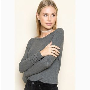 Brandy Melville grey ribbed long sleeve top O/S